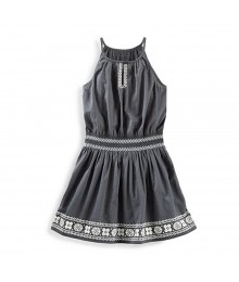Oshkosh Grey Smocked Waist Dress Wt Embroidery Print