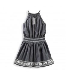 Oshkosh Grey Smocked Waist Dress Wt Embroidery Print