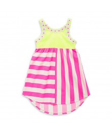 Rare Editions Neon Green Wt Neon Fush Stripped Hi-Lo Dress Little Girl