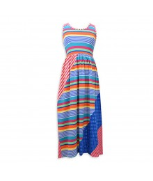 Bonnie Jean Multi Stripped Knit/Lace Maxi Dress