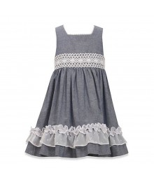 Bonnie Jean Chambray Dress Wt 3 Bows At Back N Chiffon Frills