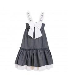 Bonnie Jean Chambray Dress Wt 1 Big Bow At Back N Crochet Sleeve