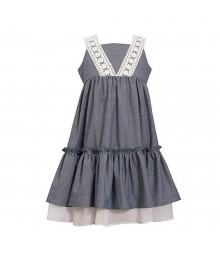 Bonnie Jean Chambray Dress Wt 1 Big Bow At Back N Crochet Sleeve