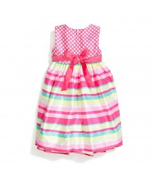 Nannette Fush Dotted Shantung Multi Stripped Dress Little Girl