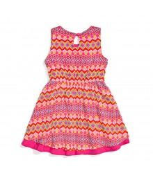 Nannette Pink Multi Chevron Print Chiffon Sleevelss Belted Dress
