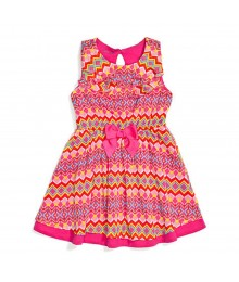 Nannette Pink Multi Chevron Print Chiffon Sleevelss Belted Dress Little Girl