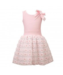 Bonnie Jean Pink/White Stripped Wt Low Bodice Wt Pink/White Rossette