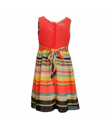Bonnie Jean Neon Multi Stripped Chiffon Dress Wt Seqd Mesh Back