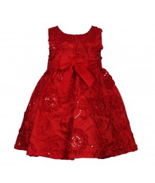 Rare Editions Red Soutache Dress