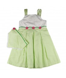Little Bitty Green Check 2pcs Dress With Pink Rosette Band