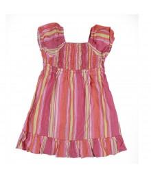 Okie Dokie Smoked Striped Dress-Pink