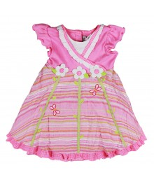 Youngland Pink Dress With Flower Applique