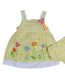 Youngland  Seersucker Yellow Plaid/Emb  Sundress