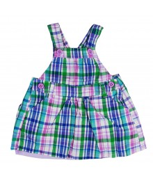 Oshkosh Blue N Purple Plaid Girls Pinafore