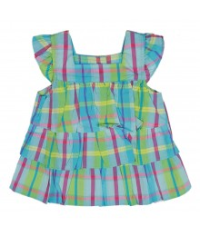 Oshkosh Blue/Green Plaid Tiered Top