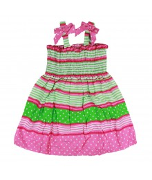 Jessica Ann Pimk/Lime Smoked Dress Little Girl