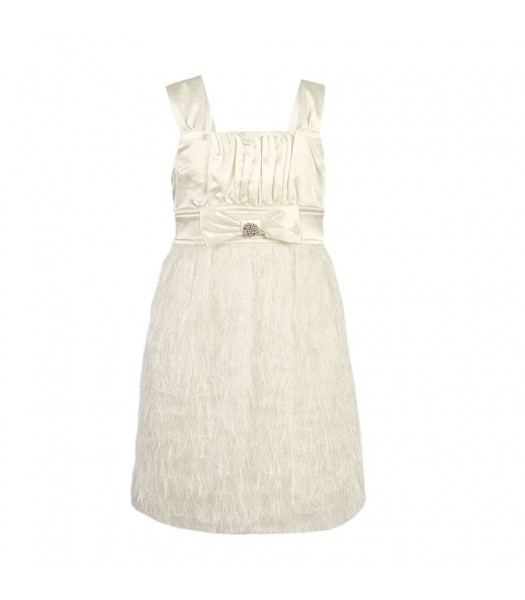 Ruby Rox  Faux-Feather White Dress Little Girl
