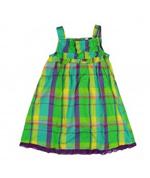 Okie Dokie Grn Plaid Ruffle Dress