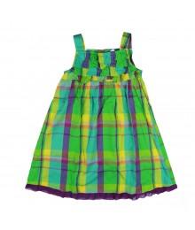 Okie Dokie Grn Plaid Ruffle Dress