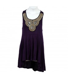 Star Scene Sequin-Emellished Purple Tank Top