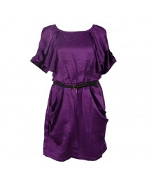Xoxo Purple Satin Ruffled Dress