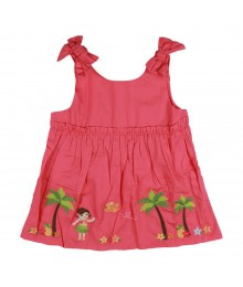 Gymboree Coral Hawaii Emb Top With Bow On Slv