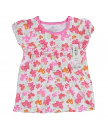 Okie Dokie Butterfly Print Babydoll Top - Pink  Baby Girl