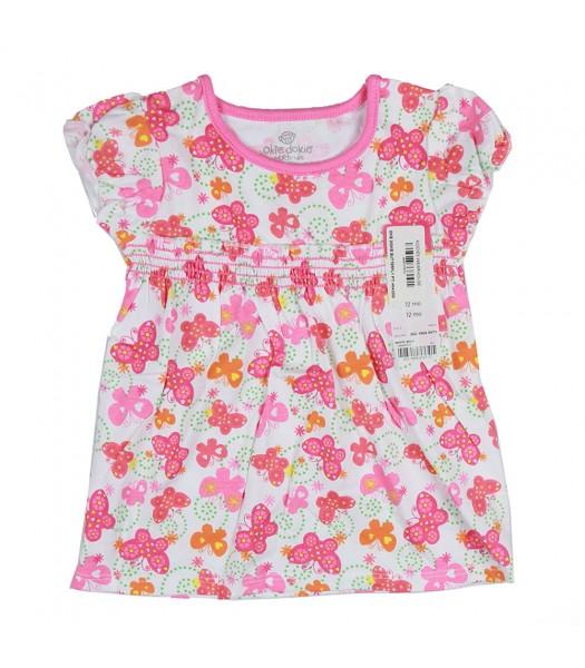 Okie Dokie Butterfly Print Babydoll Top - Pink