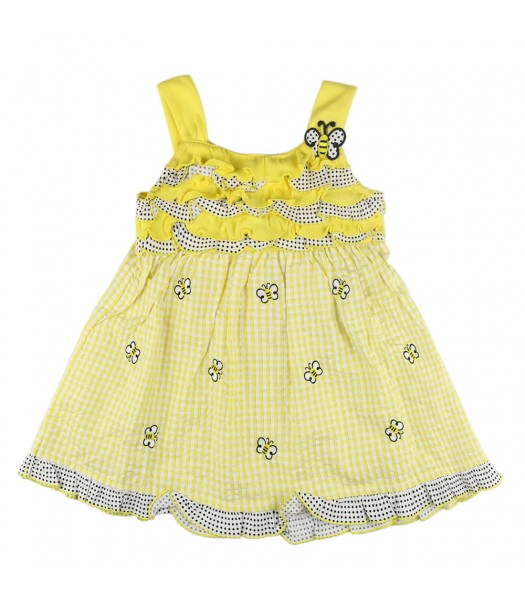 Young Land Yellow Seersucker Dress With Allover Butterfly
