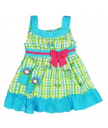 Younglang Turq Seersucker Dress Little Girl
