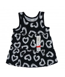 Jumping Beans Black With White Print Hearts Tunic Little Girl