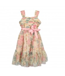 Bonnie Jean Floral Mesh Overlay Dress Wt Pink Ribbon Belt