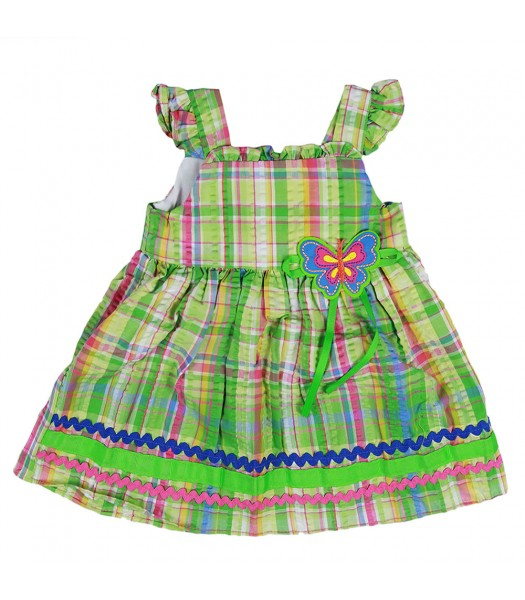Goodlad Green Plaid Dress With Colorful Butterfly