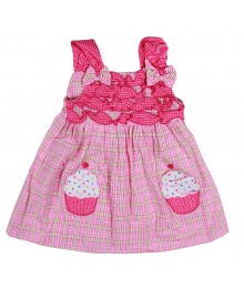 Youngland Pink Seersuker Plaid Dress Wt Cupcake Pocketss