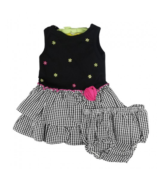 Youngland Black Knit With Dropwaist Seersucker Dress