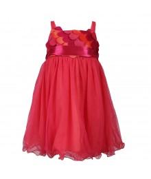 Bonnie Baby Fush/Peach Mesh Wt Petals Baby Girl