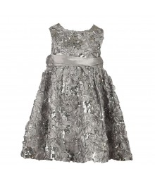 Rare Editions Silver Satin Sequin Soutache Dress