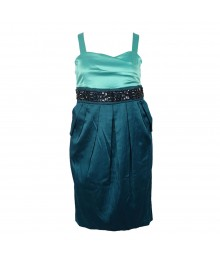 Ruby Rox  Teal Color Block Spagh Dress Wt Beads @ Waist