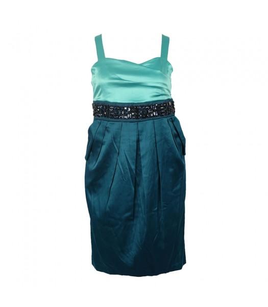 Ruby Rox  Teal Color Block Spagh Dress Wt Beads @ Waist