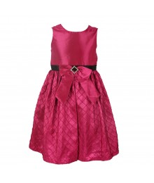 Jayne Copeland Pink  Taffeta Dress With Bow In Front