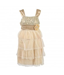 My Michelle Champagne Tiered Dress Little Girl