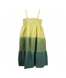 Penelope Mack Boho Lime Tie-Dye Ombre Smoked Dress