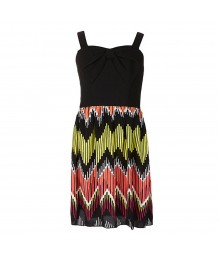 Ruby Rox Black/Yellow/Fush  Bow-Front Printed Chiffon Dress