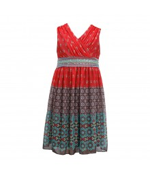 Bonnie Jean Brown/Coral Mixed-Media Print Seq Waist Dress
