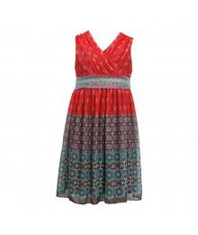 Bonnie Jean Brown/Coral Mixed-Media Print Seq Waist Dress