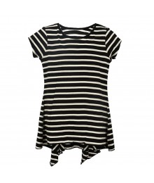 Total Girls Black/White Stripped Hi-Low Pleated Girls Top Big Girl