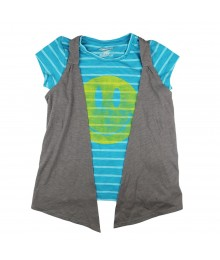 Hang Ten  Stripped Green Tee With Grey Shrug