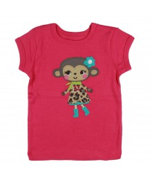 Carters Pink Tee With Monkey In Leopard Coat