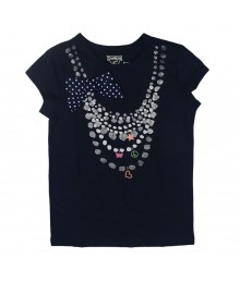Oshkosh Navy Necklace With Dotted Ribbon Bow