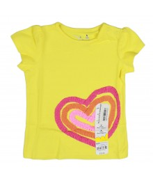 Jumping Beans Yellow With Multi Heart Stripes Girl Tee